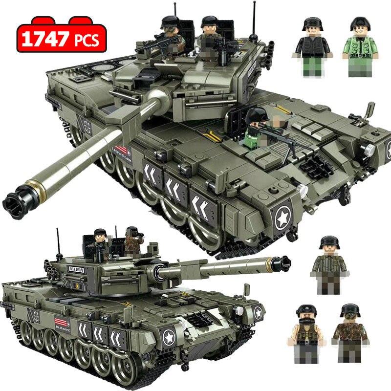 1747 pièces léopard 2 principaux réservoir de bataille modèle blocs de construction compatibles legoily militaire WW2 armée soldat Bicks jouets pour enfants garçons