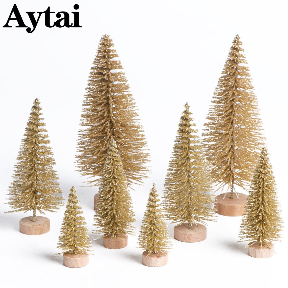 Aytai 8pcs Small Diy Christmas Tree Fake Pine Mini Sisal Bottle Brush Santa Snow Frost Village House 4 Sizes In Trees From Home Garden