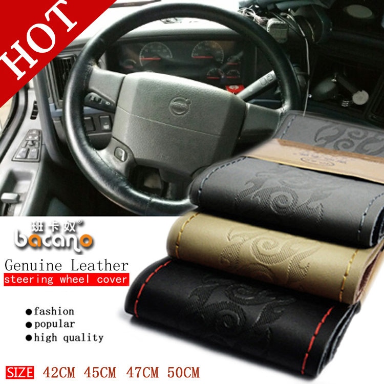 Genuine Leather 42/45/47/50 CM Bus Truck Car Steering Wheel Cover For VOLVO FH FM BENZ IVECO FIAT SCANIA DAF MAN DEUTZ RENAULT