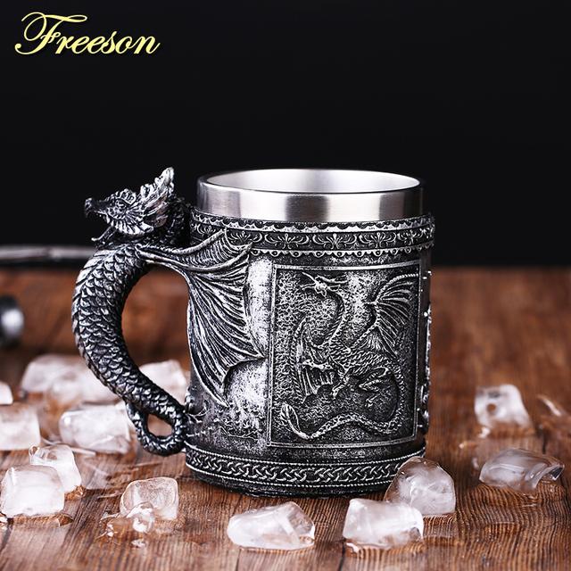 Retro Dragon Resin Stainless Steel Beer Mug