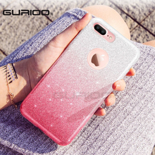 GURIOO 3 Layer Luxury Case For iPhone 6 Bling Glitter Silicone Soft Case For iPhone6S 7 8 Plus 5S SE Transparent Clear TPU Cover