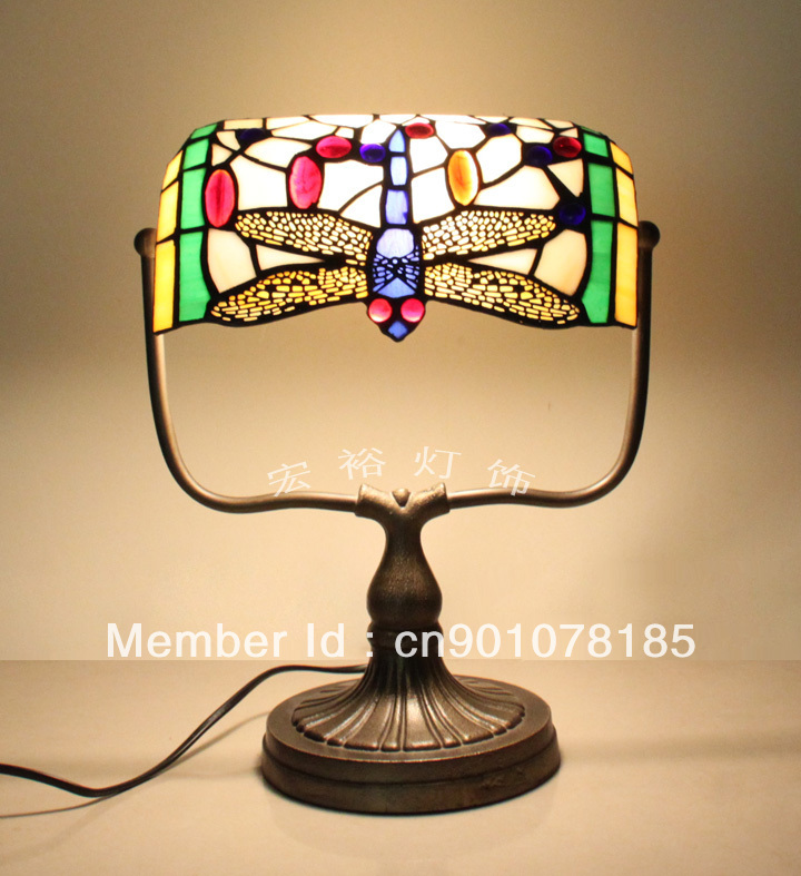 Tiffany Style Dragonfly Bankers Lamp Stained Glass