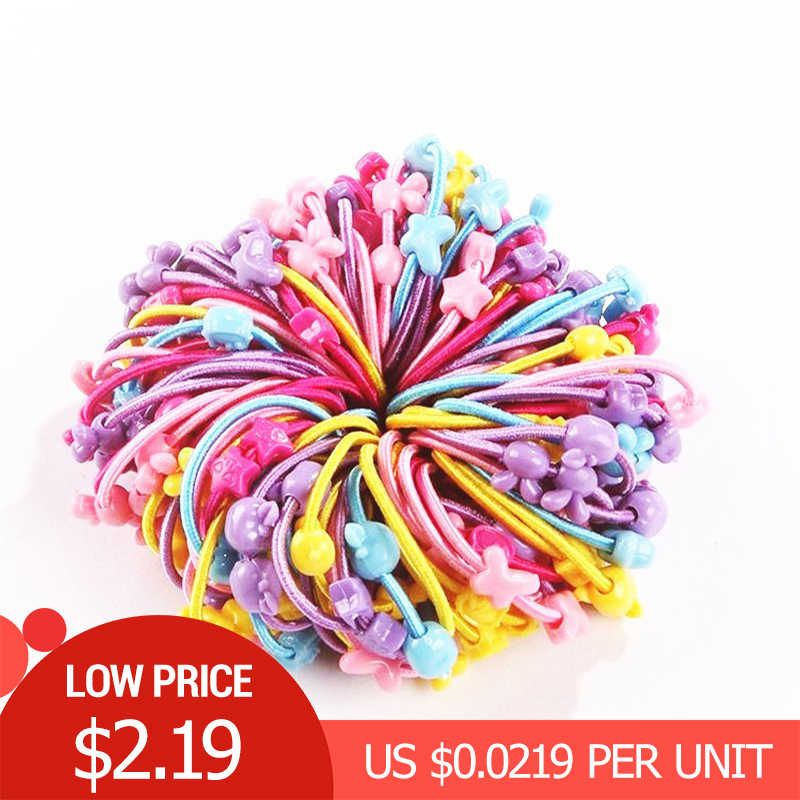 AKWZMLY 100pcs/lot Flower Cartoon Elastic Hair Band Cute Headband Candy Color Kids Star Rabbit Heart Hair Accessories for Girls