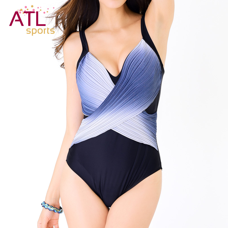 2016 New Arrival Slimming V-neck Plus Size Swimwear Large Size Push Up One Piece Swimsuit Women Patchwork Padded Bathing Suits women one piece triangle swimsuit cover up sexy v neck strappy swimwear dot dress pleated skirt large size bathing suit 2017
