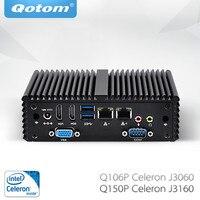 Бесплатная доставка Qotom мини-ПК с Celeron J3060 J3160 безвентиляторный 2 LAN VGA COM X86 Linux Pfsense as маршрутизатор для межсетевого экрана промышленный ПК