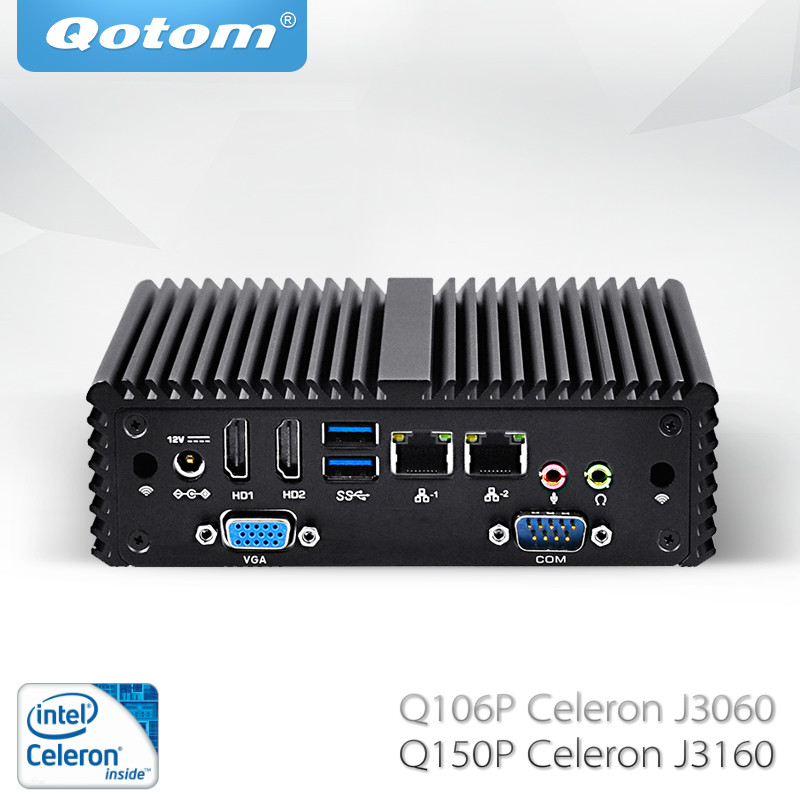 Free Shipping Qotom Mini PC With Celeron J3060 J3160 Fanless 2 Lan VGA COM X86 Linux Pfsense As Firewall Router Industrial PC
