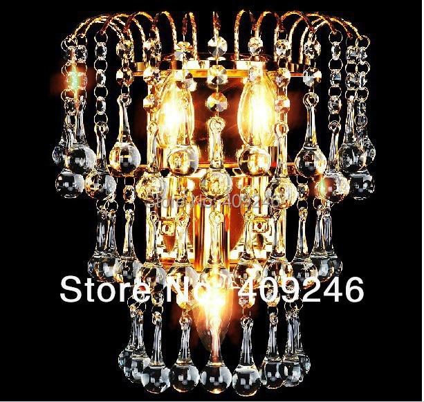 ФОТО European style Luxury K9 Water Drop Crystal Wall Lamp With E14X3 Lights