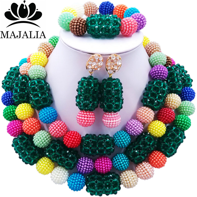 Majalia Classic Fashion Nigerian Wedding African Jewelery Set Multicolors Army green Crystal Necklace Bride Jewelry Sets 3SZ022