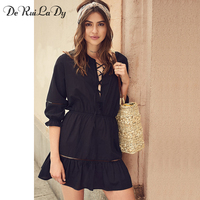 DeRuiLaDy 2017 New Autumn Women Dress Black Three Quarter Sleeve Hollow Out Straps Loose Dresses Casual