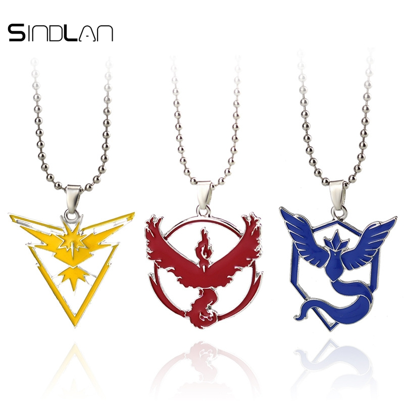 Sindlan Necklace New Pokemon Go Tag Necklace Game Anime Metal Team Valor Mystic Instinct Logo Bead Chain For Women And Men Fans