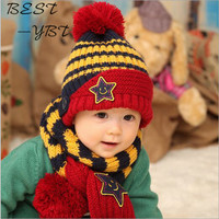 2016 New Korean Winter Baby Pentacle Wool Hat Smiling Face Cap Sleeve Baby Warm Hat Scarf
