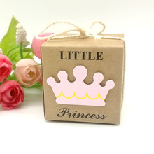 10/25/50pcs Kraft Paper Square Little Princess Girl Baby Shower Candy Box Childrens Day Birthday Party Favor