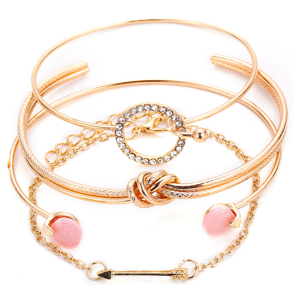 OLOEY Hot Women Brecelets Simple Knot Alloy Open Bracelet Femme Arrow Crystals Bangles Boho Hand Chain Jewelry Accessories Gifts 7