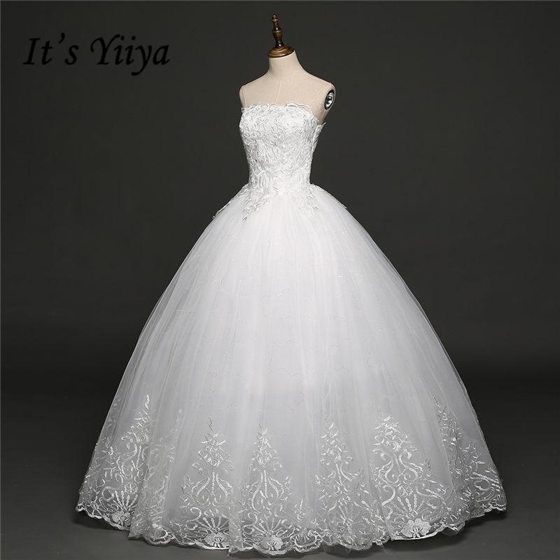 Its YiiYa 2017 Off White Sleeveless Strapless Popular Wedding Gowns Simple Flower Pattern Bride dress Vestidos De Novia HS260