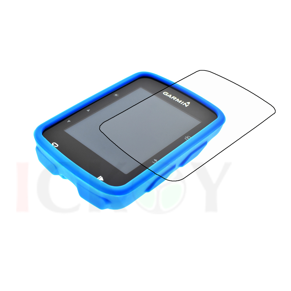 Outdoor Bike Bicycle Cycling Silicone Rubber Sky Blue Skin Case + LCD Screen Cover Protector For Garmin GPS Edge 520