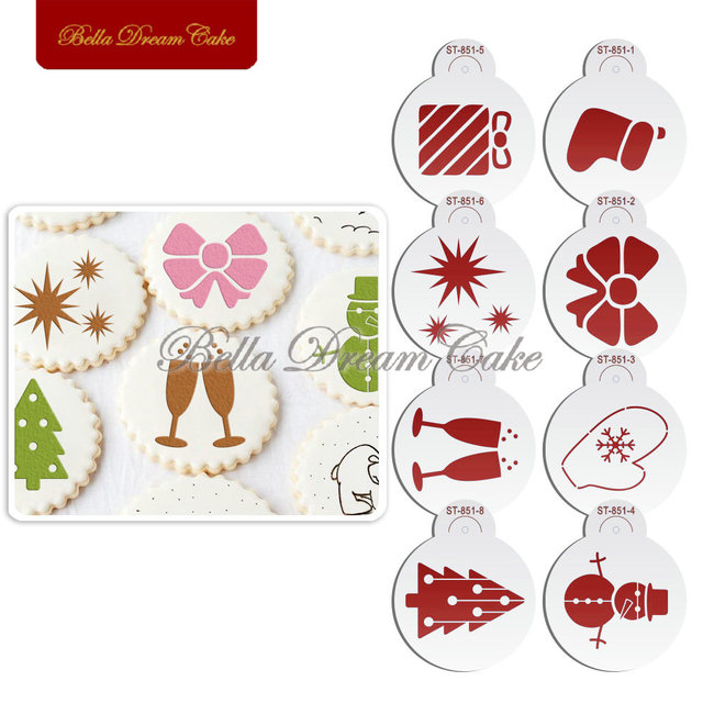merry christmas gift socks design cookies stencil coffee template