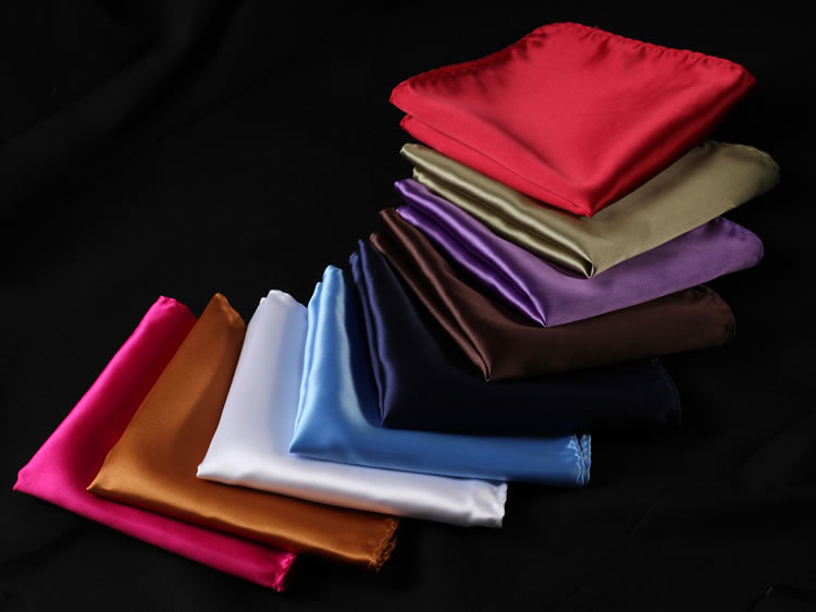 PA Solid Silk Satin Pocket Square Hanky Jacquard Woven Classic Wedding Party Handkerchief