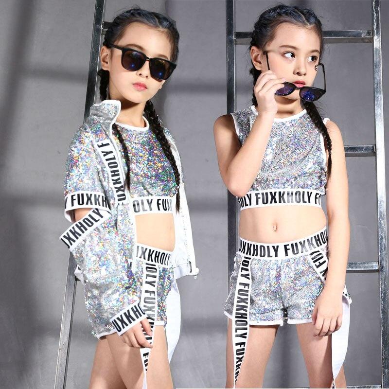 Argent enfants Jazz moderne danse Costumes filles paillettes réservoir hauts Shorts veste pour enfants Hip Hop rue danse vêtements