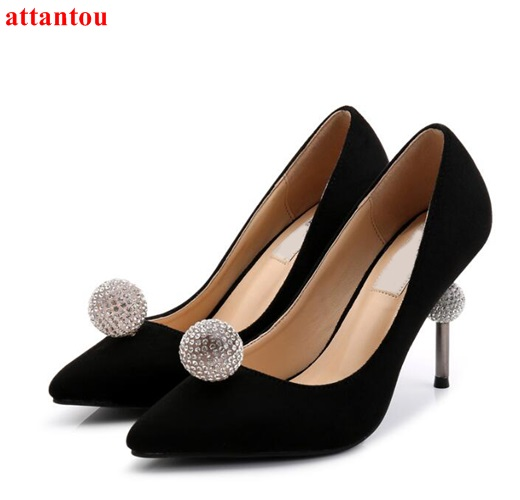 Crystal ball decor woman high heels luxury sandals bling bling party wedding dress shoes slip-on pointed toe female single shoes