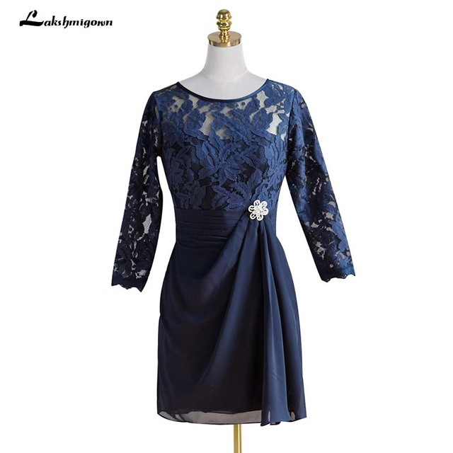 f87cb33c Round Neck 3/4 Sleeves Dark Blue Chiffon Short Mother of the Bride Dress  with Lace Beading Knee Length Mother Party Dress
