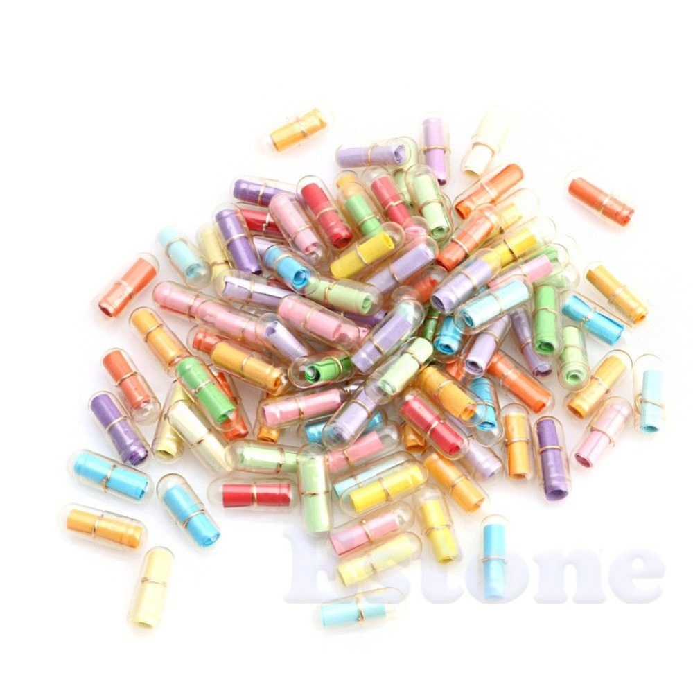 1Pack Cute Message i en flaske Meddelelse Capsule Letter Love Pill Fuld Clear Wish Bottle Med Paper Scrip Storage
