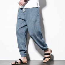 5XL Spring Autumn Men Sport Pants Linen Loose Yoga Sweatpants Bloomers Running jogger Fitness Gym Track Pant Spportswear