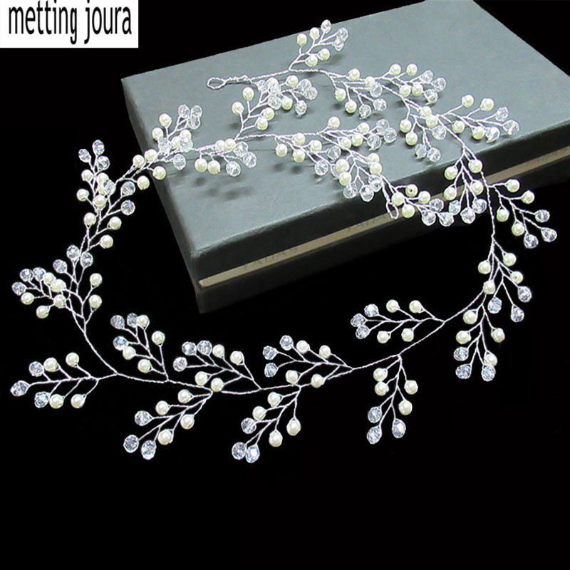 Metting Joura Bridal White Pearl Flower Braided long Headband Bride Hairband Knitted Handmade Hair Accessories metting joura vintage bohemian ethnic colored seed beads flower rhinestone handmade elastic headband hair band hair accessories