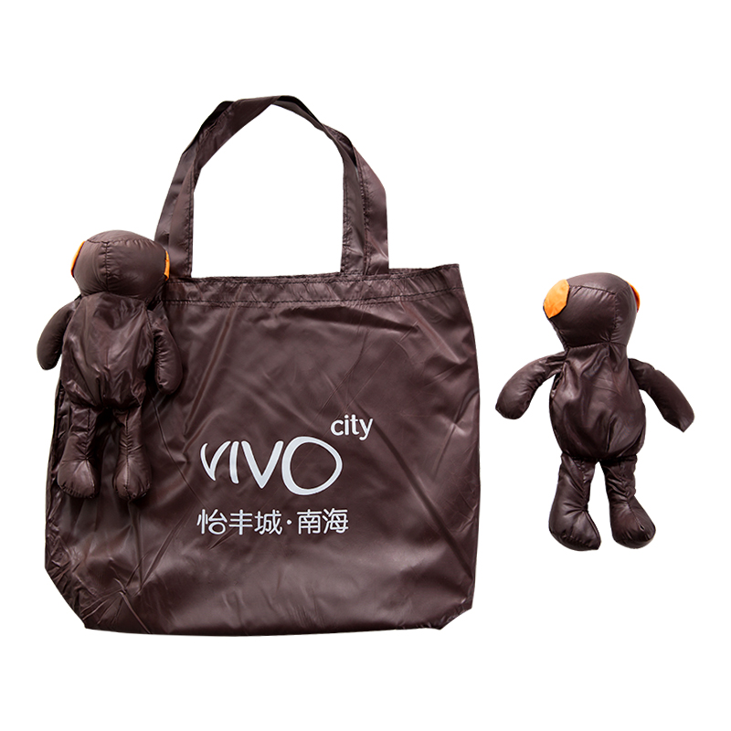 ECO Shopping Bag brown Black Coated Bear Cotton filling Waterproof Tote reusable shopping bag grocery Pouch