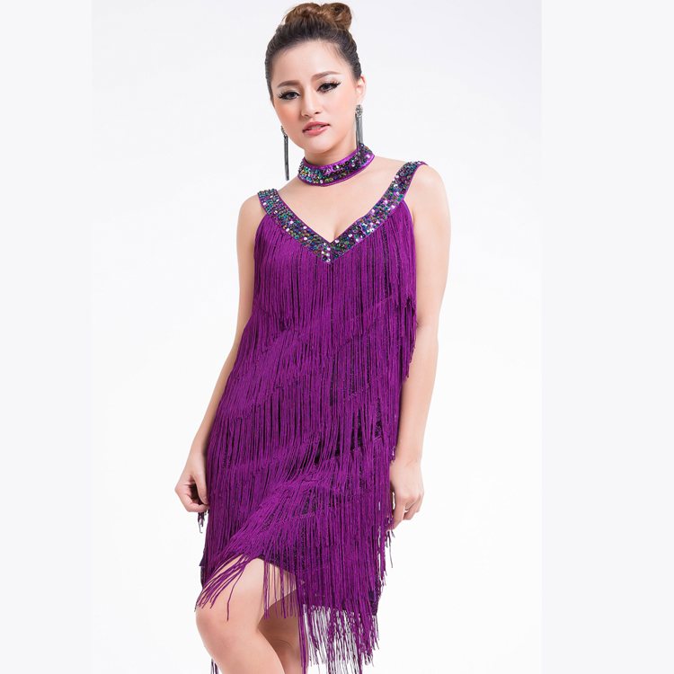 Niñas sexy de Noche del coctel del club Latino salsa Salón Dance party Costume dress Fringe 9 colores en Latina de La novedad y de uso especial en ...