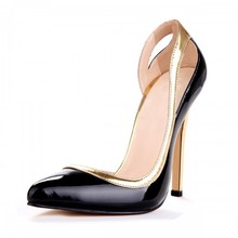 Side Out Pointed Toe Bow Pumps D'orsay Women Slip-on OL Shoe Gold Black Stilettos Spring High Heels Stilettos 44 Women Shoes