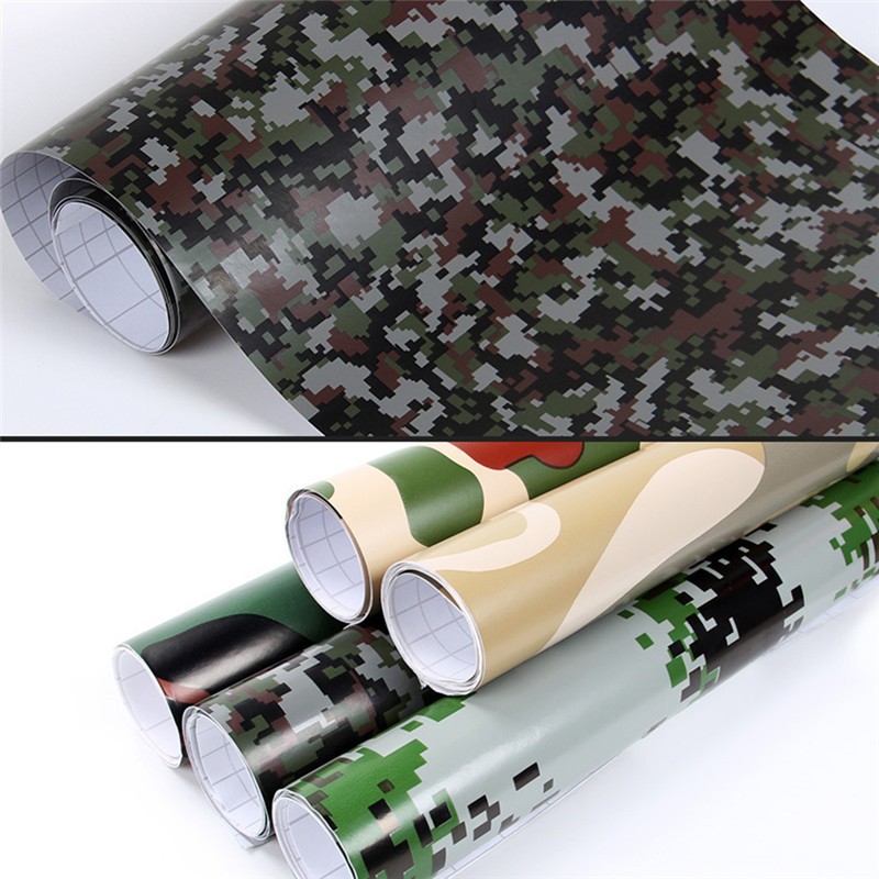 152*20CM Sticker Car Camouflage Color Change Film Wrap Sheet Adhesive Vinyls PVC Motorcycle Carbon Fiber Sticker Army Woodland 1sheet matte surface 3k 100% carbon fiber plate sheet 2mm thickness