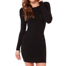 New Solid Casual Sheath Woman Dresses Spring Autumn Basic Body Con O-neck Long Sleeve Female