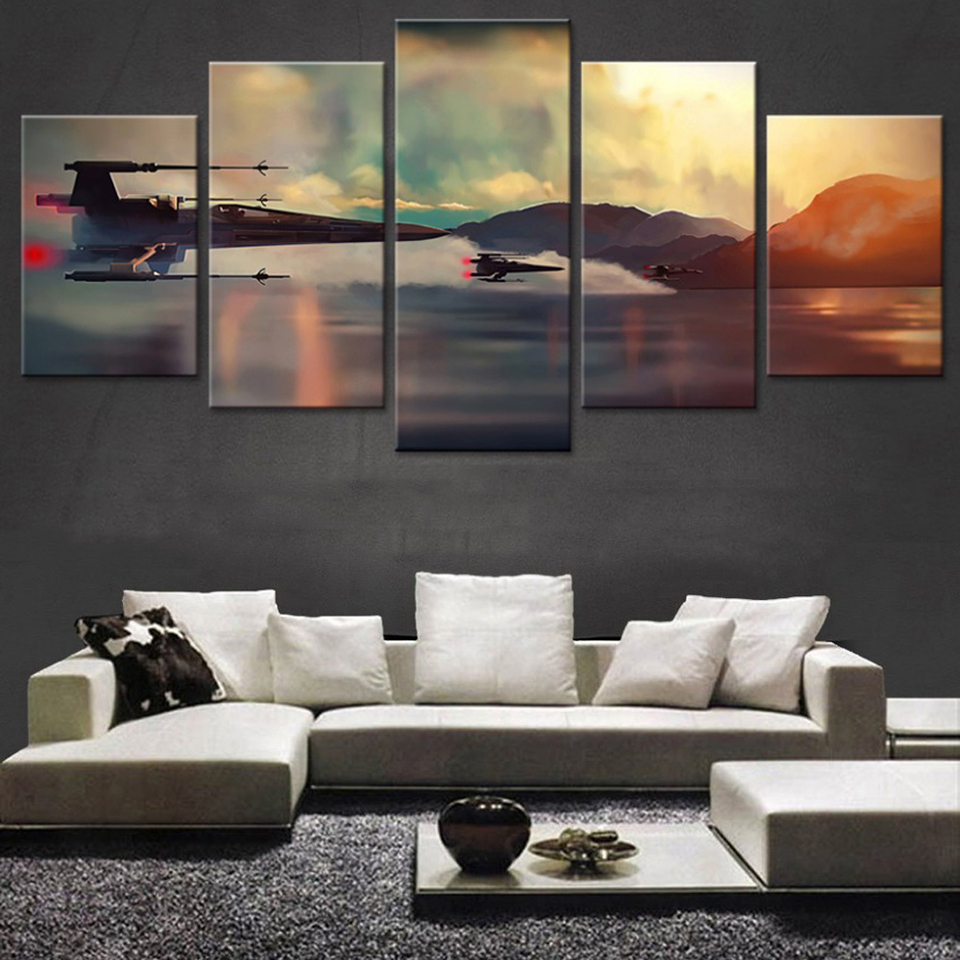 Poster Framework Pictures Home Painting Wall 5 Panel Star Wars Movie HD Printed Modern Canvas Artwork Modular Decor Living Room image