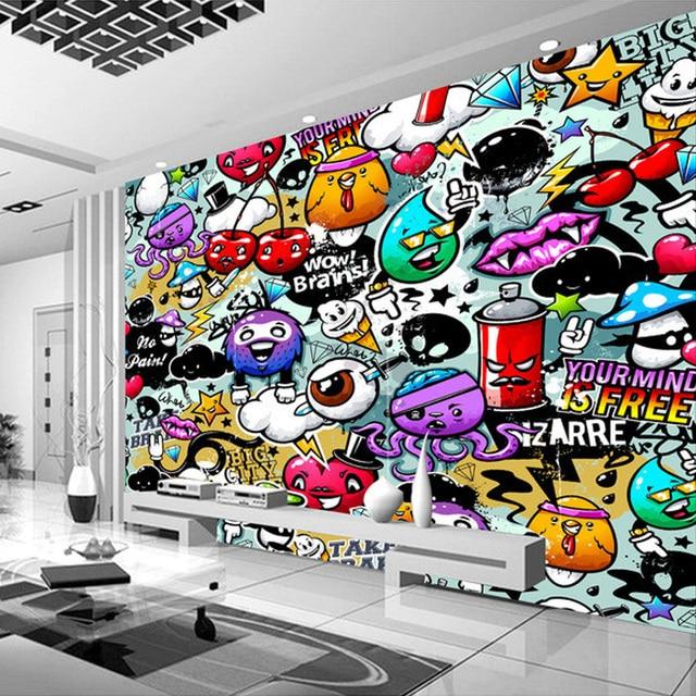 Custom Mural Wallpaper 3D Colorful Graffiti Retro Modern