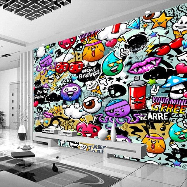Kustom Lukisan Dinding Wallpaper 3d Grafiti Berwarna Warni Retro