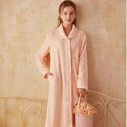 Элегантный халат, длинное платье, женский халат, Зимние халаты, мягкая одежда для сна, фланелевый теплый халат для леди, домашний халат, высо...