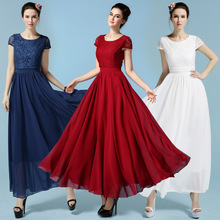 free shipping wedding lady US size 2-12short cap sleeve 2layers with lining lace chiffon summer dress 2015 evening party dresses