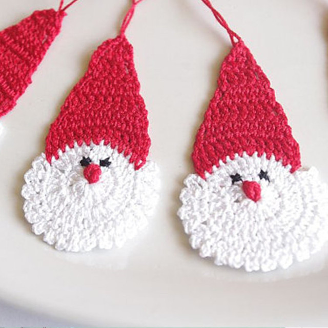 of 12 Crochet Santa Claus Christmas decorations Hanging Christmas ...