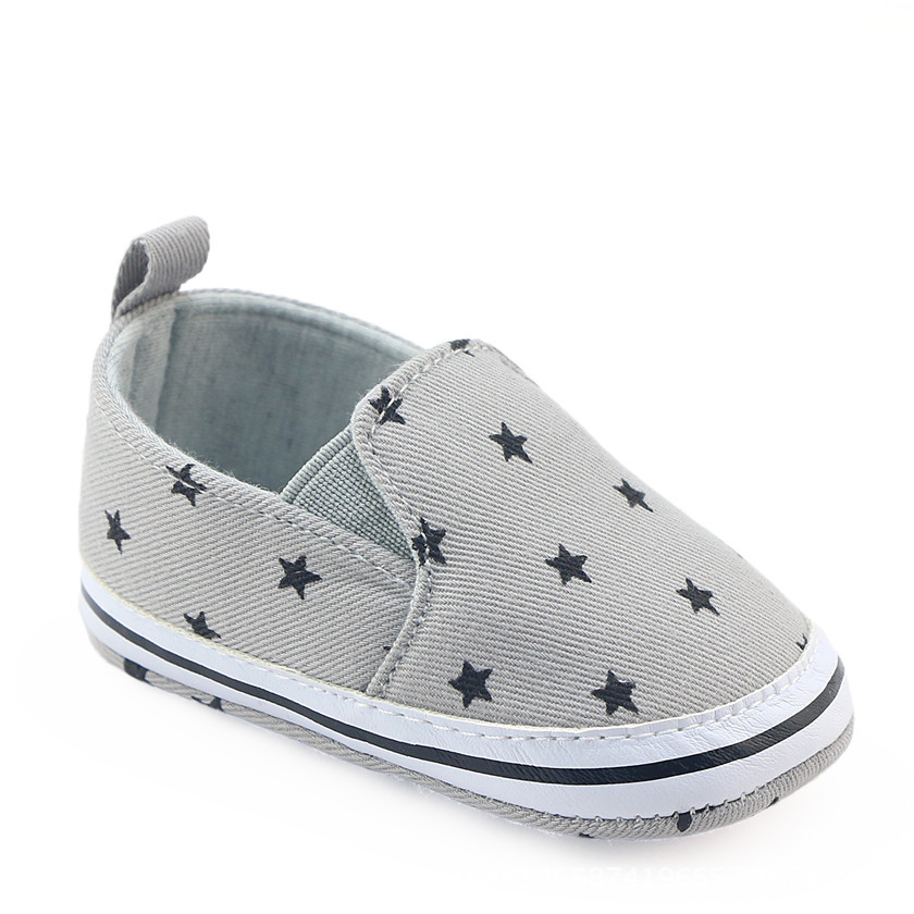 2020 New Baby Boys First Walkers Soft Prewalker Shoes Infant Toddler Booties Baby Boys Casual Canvas Shoes Grey Color