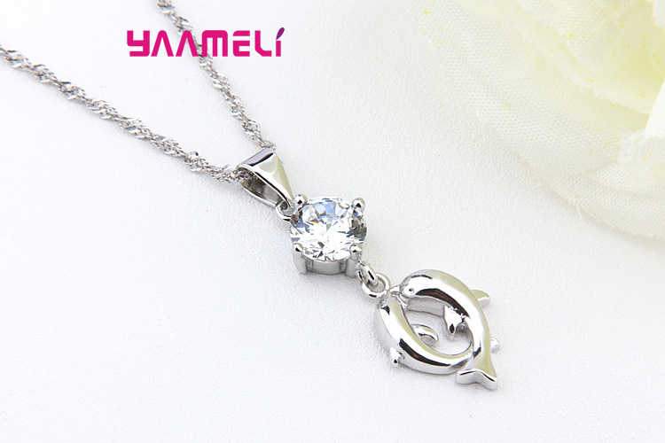 Kiss Dolphin Design 925 Sterling Silver Pendant Chocker Necklaces With Top Quality Cubic Zircon  For Women As Love Gift