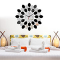 Hot DIY Art 3D Wall Sticker Unique Mirror Wall Clock Modern Lemon Design DIY Reflection Office Home Bedroom Decoration Gift -48