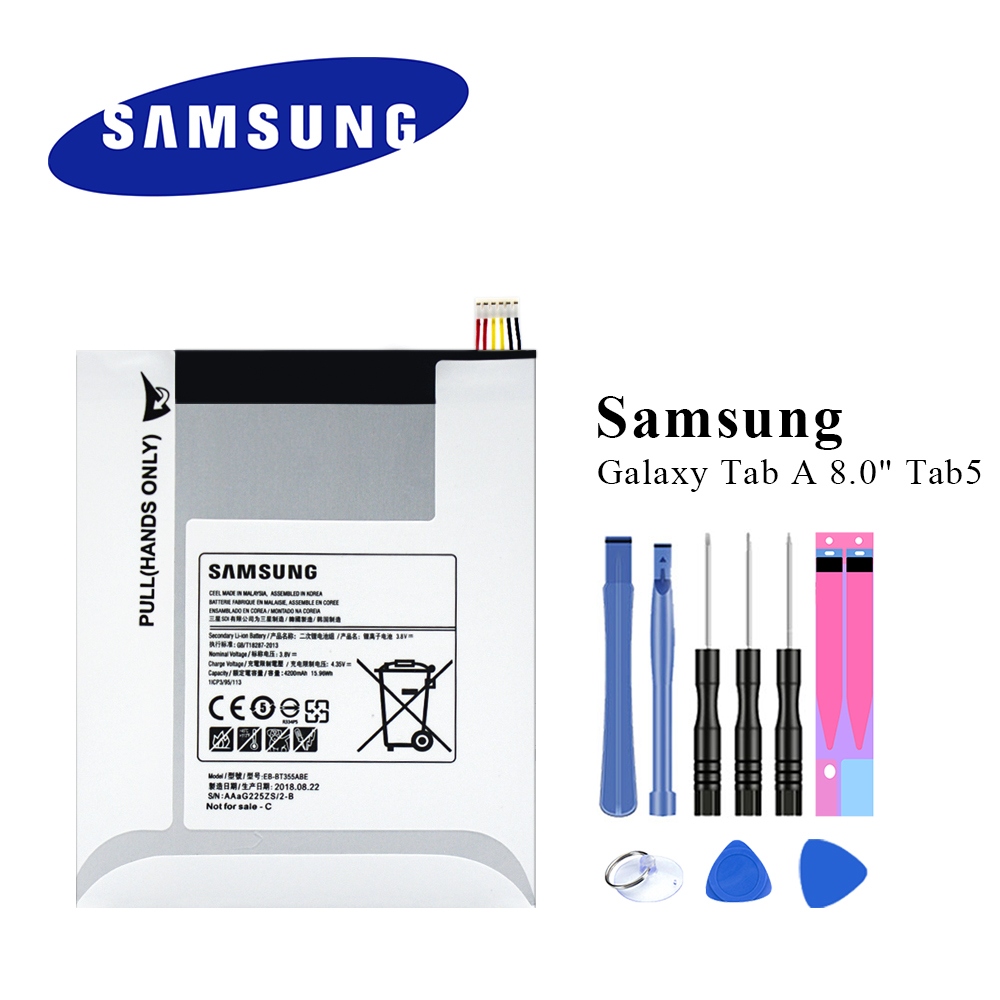 Original Tablet Battery For Samsung GALAXY Tab A 8.0 T355C EB-BT355ABE GALAXY Tab5 SM-T355 T350 SM-P350 P355C T357WOriginal Tablet Battery For Samsung GALAXY Tab A 8.0 T355C EB-BT355ABE GALAXY Tab5 SM-T355 T350 SM-P350 P355C T357W