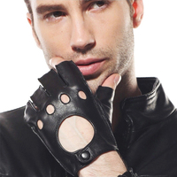 Fashion Genuine Leather Men Goatskin Gloves Wrist Short Classic Black Breathable Half Finger Sheepskin Driving Glove