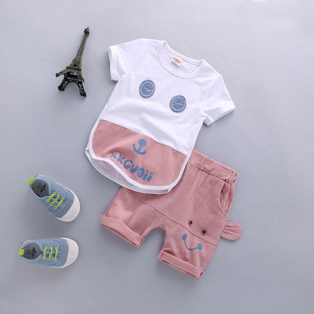Summer Casual Baby Boys Girls Cotton Clothes Sets Cute Cartoon Top and Pants Newborn Infant Clothing For Kids Children 2Pcs/Set hhtu 2017 new infant baby girl boys sleep clothing set children cute cartoon pajamas suit newborn kids soft cotton underwear