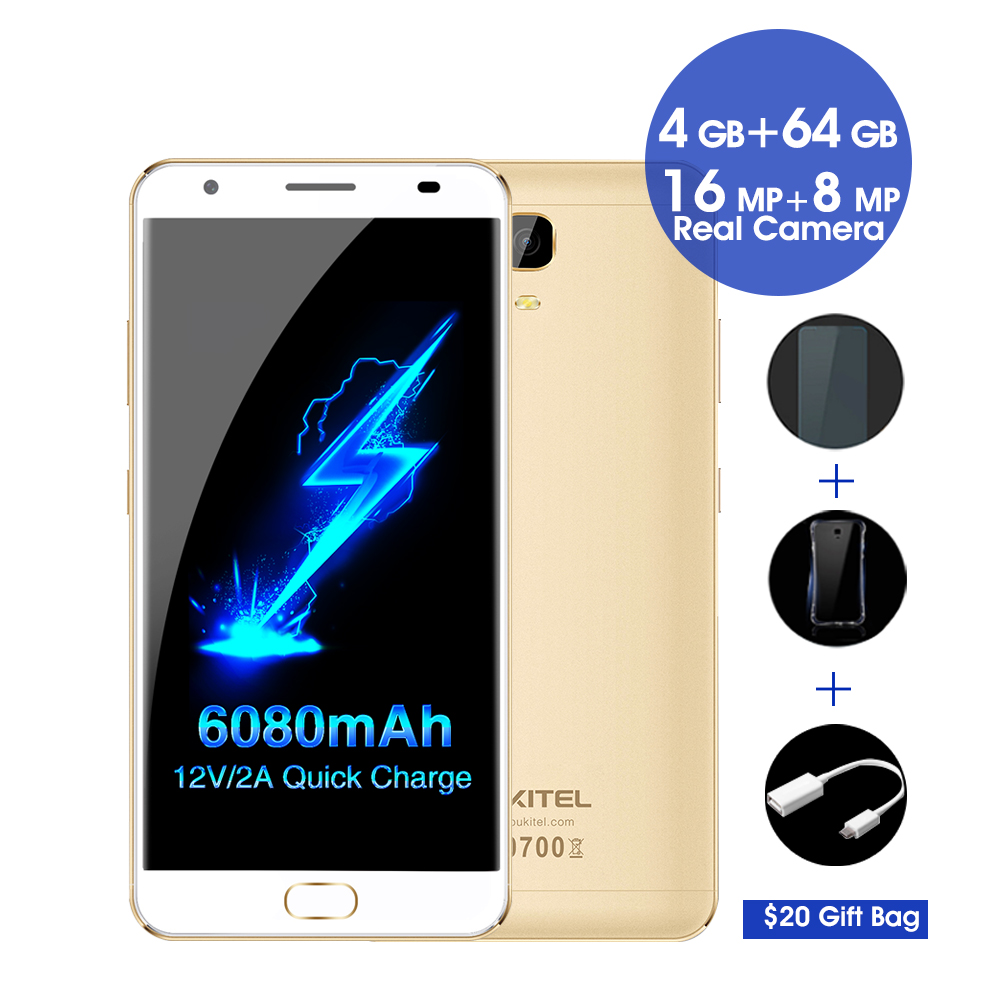 Oukitel K6000 plus 4G android 7.0 Smartphone 5.5 FHD MTK6750T Octa Core 16MP 4 GB + 64 GB 6080 mAh 12 V/2A charge Rapide Mobile téléphone