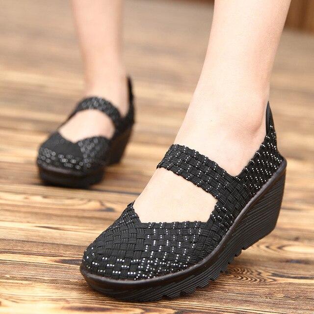 2020 נשים קיץ פלטפורמת נעליים לנשימה בעבודת יד ארוג דירות נעלי אופנה נעלי ספורט נשים רב צבעים סנדלי גודל גדול 42
