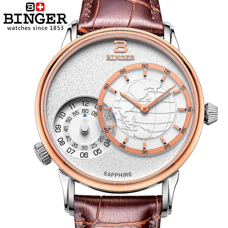 Switzerland men's watch luxury brand Wristwatches BINGER 18K gold quartz leather strap waterproof clock BG-0389-5 switzerland watches men luxury brand wristwatches binger 18k gold quartz leather strap waterproof bg 0389 a6