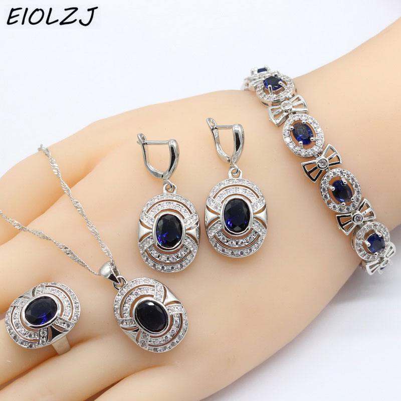 925 Sterling Silver Bracelet Sets For Women Oval Dark Blue Zircon Bridal Silver Jewelry Sets Pendant Ring Drop Earrings Bracelet gorgeous faux crystal oval bracelet with ring for women