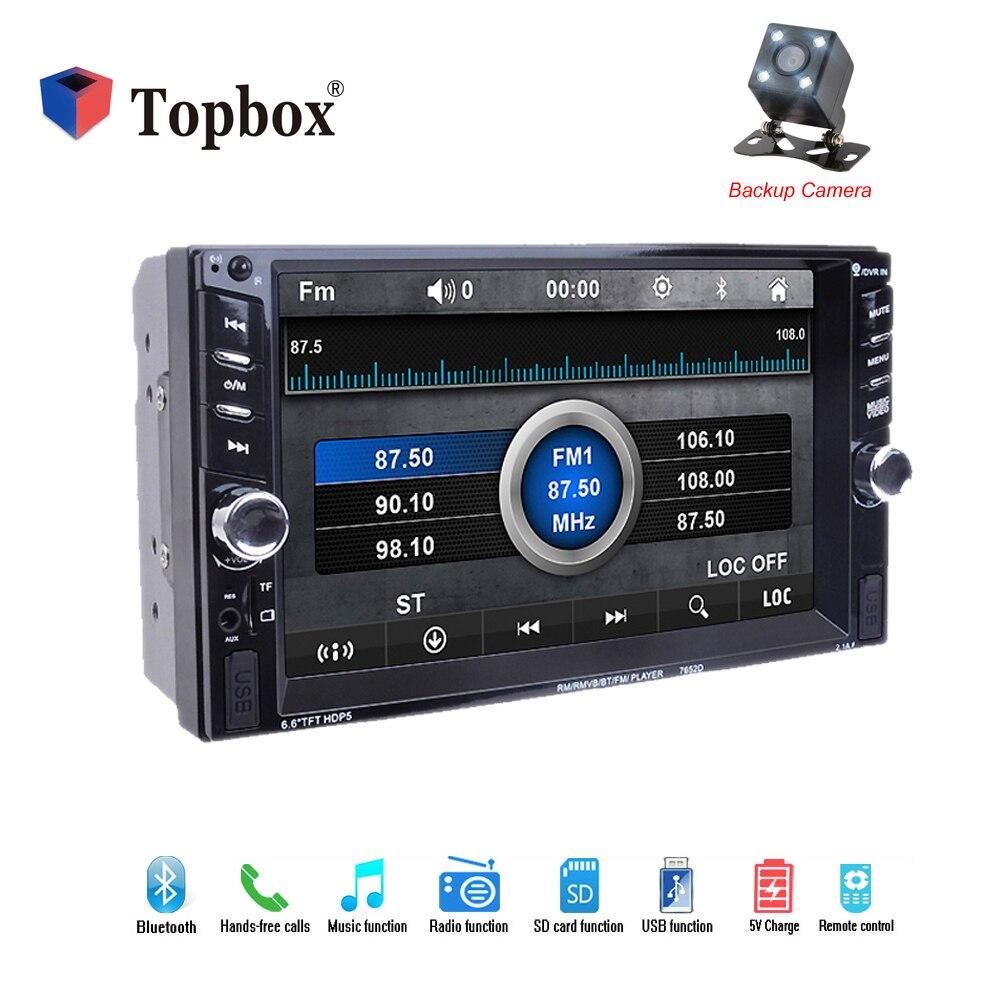 Bauletto Auto Radio 6.6 pollice TFT Touch Screen Auto Lettore Audio Stereo Bluetooth 12 v Auto Radio 2Din di Sostegno FM USB SD Backup Camer