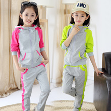 Children s clothing female child autumn 2015 kids clothes set sports Seires girl school uniform Two